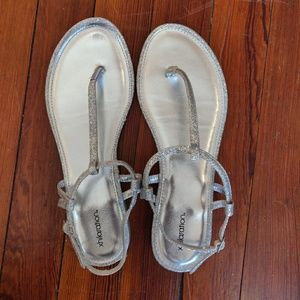 Xhilaration Shoes - Xhilaration (Target) Silver Sparkly Sandals Size 8